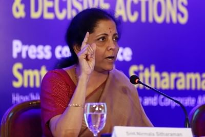 Chennai: Union Finance and Corporate Affairs Minister Nirmala Sitharaman addresses a press conference on completion of 100 Days of Government, in Chennai on Sep 10, 2019. (Photo: IANS)