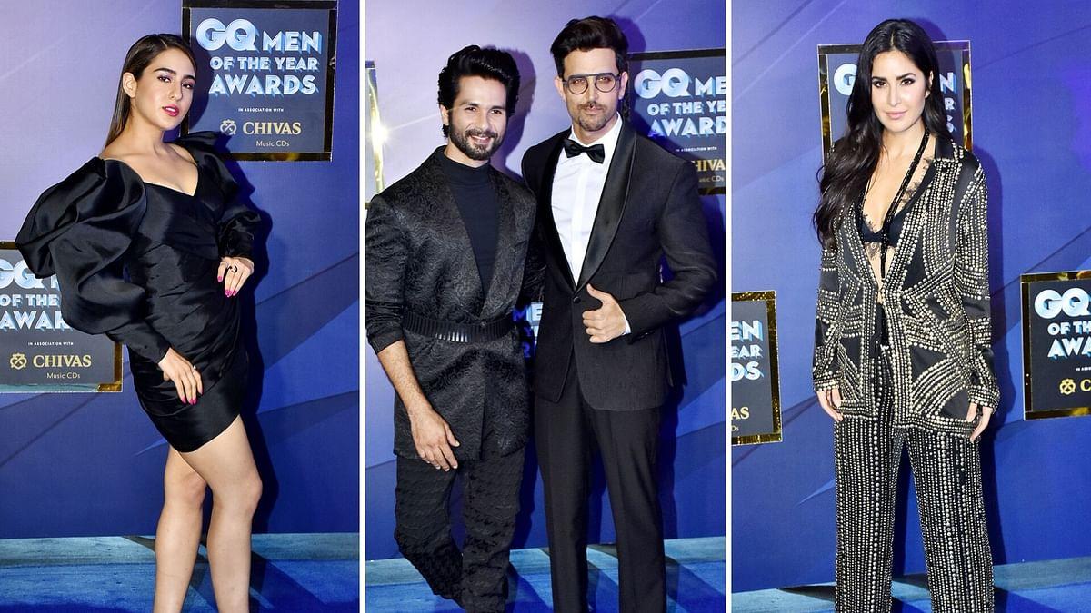 Sara Ali Khan (L), Shahid Kapoor & Hrithik Roshan (C), Katrina Kaif (R).