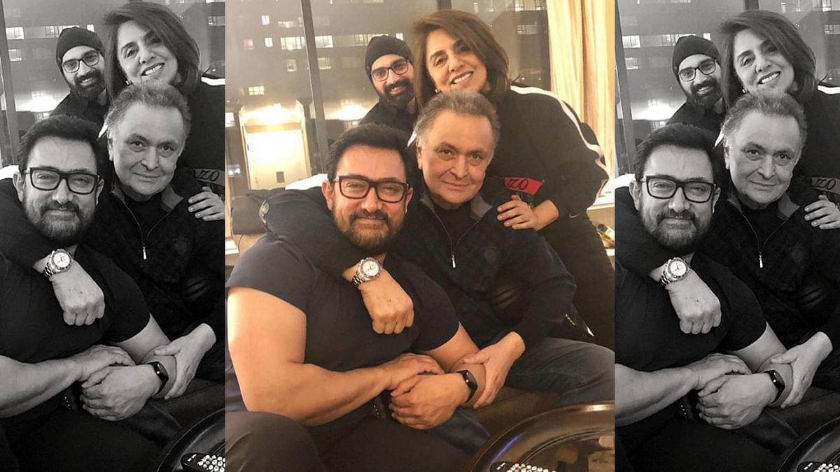 Rishi Kapoor and Neetu Kapoor Singh with Aamir Khan in New York.