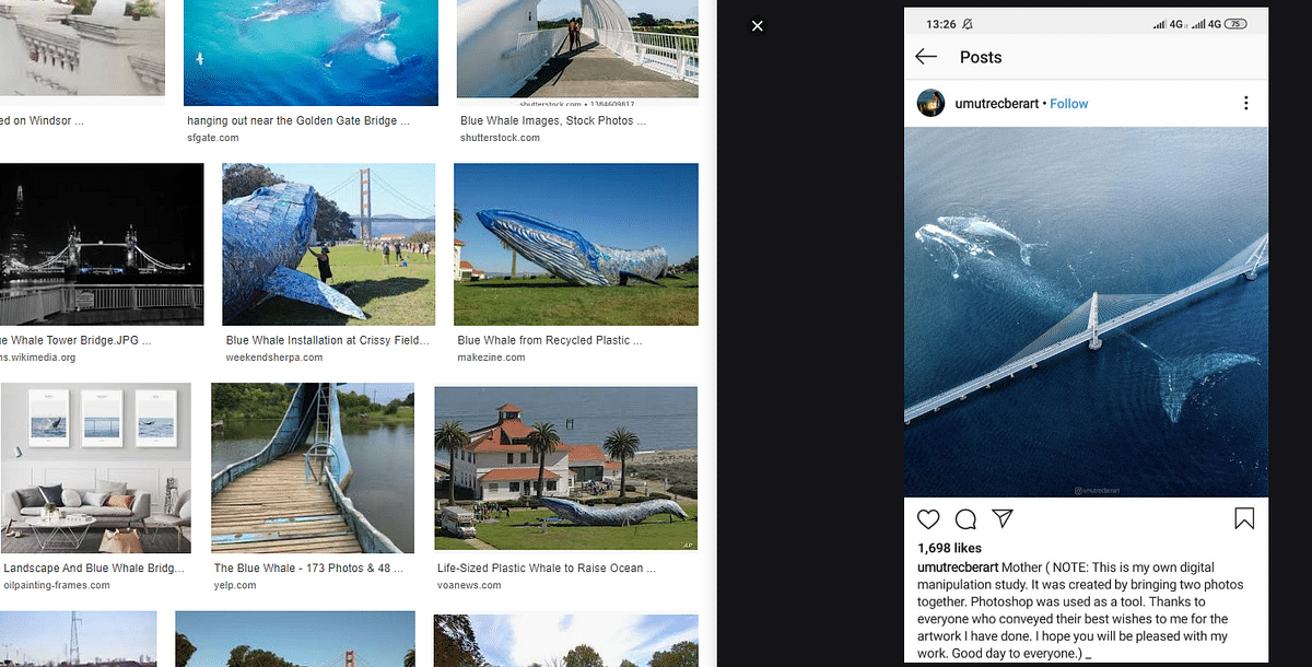A keyword search led us to an Instagram post which had the same image.