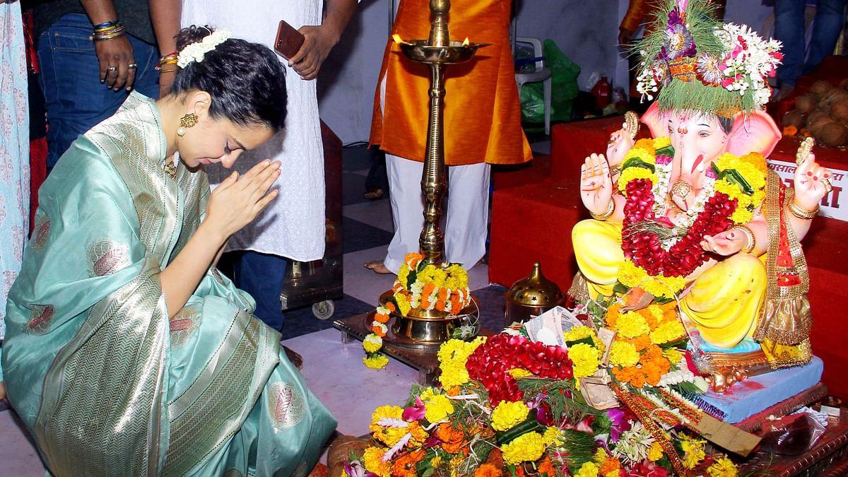 In Pics: Kangana Asks Ganesha for Blessings at Andhericha Raja