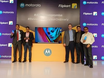 New Delhi: Motorola Mobility Head (Product Marketing and E-Commerce) Uvais Chinoy, MD Prashanth Mani, Motorola Legal Head (Trademarks, Brand and Advertising) David Carroll, Flipkart Vice President (Electronics, Private Labels and Furniture) Adarsh K. Menon and Vice President (Mobile and Large Appliances) Ajay Veer Yadav at the launch of Motorola Smart TV and Moto E6s smartphones, in New Delhi on Sep 16, 2019. (Photo: IANS)
