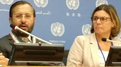 Environment, Forest and Climate Change Minister Prakash Javadekar addresses a news conference at the United Nations on Monday, September 23, 2010, with Sweden