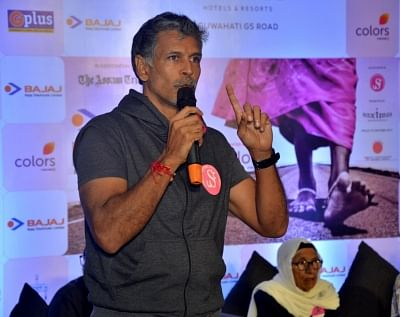 Guwahati: Actor and Pinkathon founder Milind Soman addresses a press conference announcing the fourth edition of Pinkathon 2018, in Guwahati on Aug 27, 2018. (Photo: IANS)