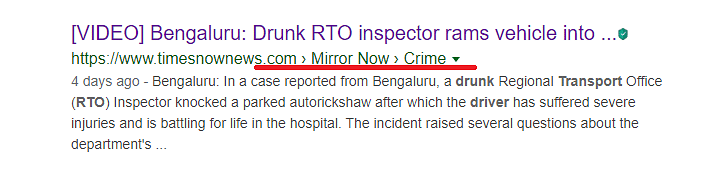 Mirror Now reported a drunk RTO inspector knocked down a parked auto rickshaw.