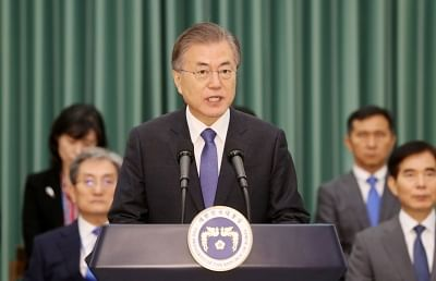 Seoul: President Moon Jae-in announces a statement at the president office on Sept. 9, 2019, after appointing Cho Kuk, a former senior presidential secretary for civil affairs, as the new justice minister despite allegations of ethical lapses involving his family.(Yonhap/IANS)