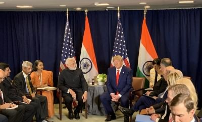 United Nations: Prime Minister Narendra Modi and US President Donald Trump during a meeting on the sidelines of the UNGA74 at United Nations on Sep 24, 2019. (Photo: IANS/PMO)