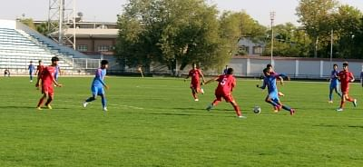Tashkent: players in action during the AFC U-16 Championship Qualifiers match between Bahrain and India at Transport Institute Stadium in Tashkent, Uzbekistan on Sep 20, 2019. (Photo: IANS)