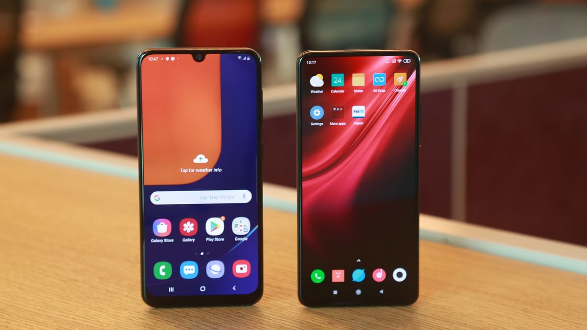 The Redmi K20 Pro (right) and the Samsung A50s (left) both come with Super AMOLED displays.