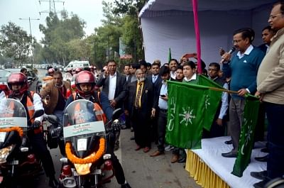 New Delhi: Delhi Chief Minister Arvind Kejriwal and Health Minister Satyendar Jain flag off bike ambulance services at Delhi Secretariat, on Feb 7, 2019. To ensure timely health assistance in traffic-congested areas and small lanes, the Delhi government on Thursday launched a fleet of 16 bikes, which will have a portable oxygen cylinder, first aid kit and dressing materials, air-splints, GPS and communication device, among others. (Photo: IANS)