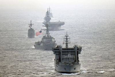 The United States Senates wants the government to increase cooperation with India in multilateral frameworks. Indian Navy destroyer INS Kolkata and tanker INS Shakti, transits the international waters in the South China Sea along with along with US Navy guided-missile destroyer USS William P. Lawrence, Japan Maritime Self-Defense Force helicopter-carrier JS Izumo DDH 183 and destroyer JS Murasame, and Philippine Navy patrol ship BRP Andres Bonifacio on May 7, 2019. (Photo: JMSDF/IANS)
