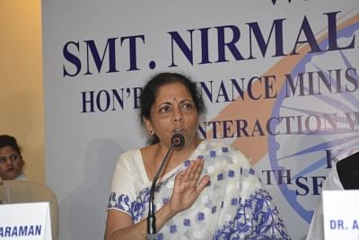 Kolkata: Union Finance Minister Nirmala Sitharaman during press conference in Kolkata on Sep 6, 2019. (Photo: IANS)