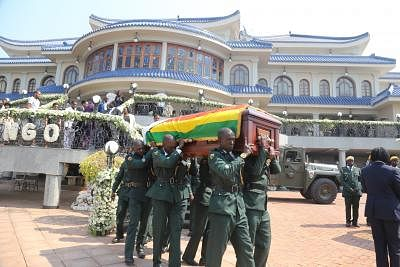 HARARE, Sept. 13, 2019 (Xinhua) -- The casket of the late former Zimbabwean President Robert Mugabe is taken out of his residence in Harare, Zimbabwe, on Sept. 13, 2019. Thousands of Zimbabweans thronged Rufaro Stadium in Harare on Friday for the continuation of the body viewing of the late former President of Zimbabwe Robert Mugabe, who died in Singapore last week at the age of 95. (Photo by Chen Yaqin/Xinhua/IANS)