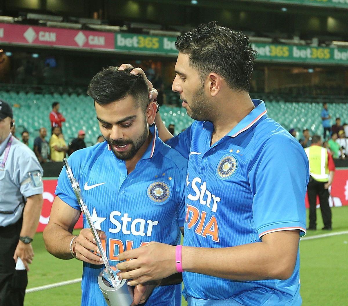 Yuvraj Singh and Virat Kohli during the tour of Australia in 2016.