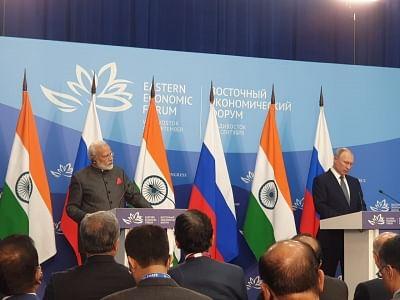 Vladivostok: Prime Minister Narendra Modi and Russian President Vladimir Putin issue Joint Press Statement, in Vladivostok on Sep 4, 2019. (Photo: IANS)