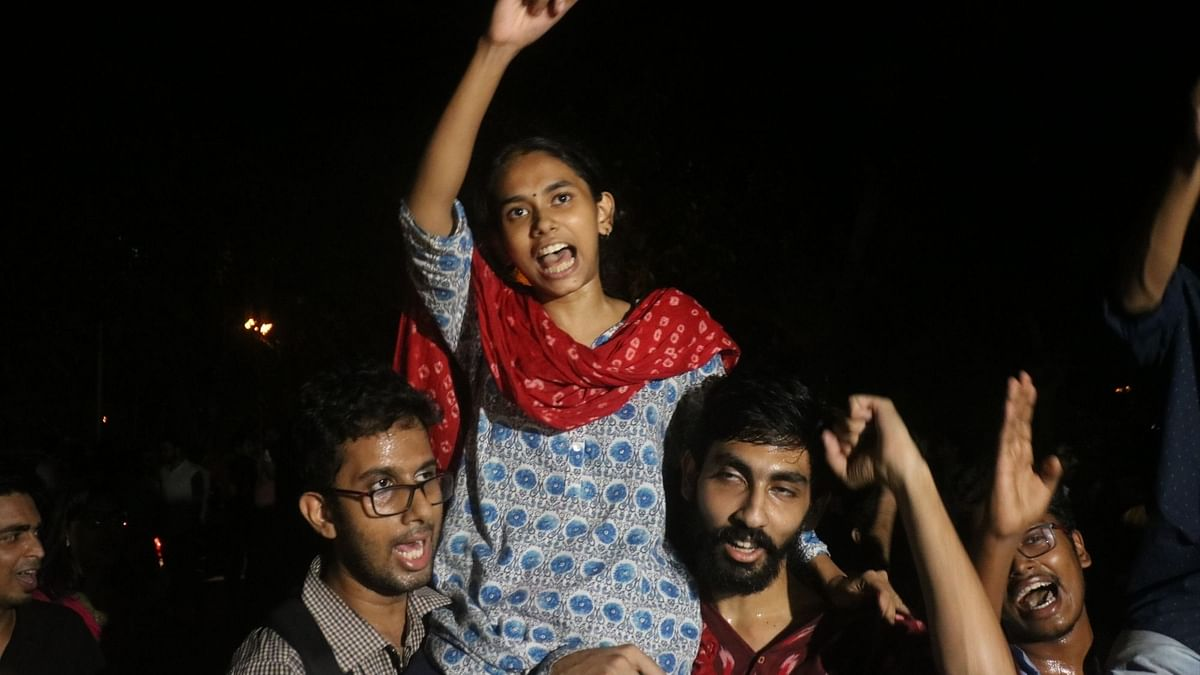 File photo of  JNU Students' Union president Aishe Ghosh celebrating after the announcement of the results on 17 September.