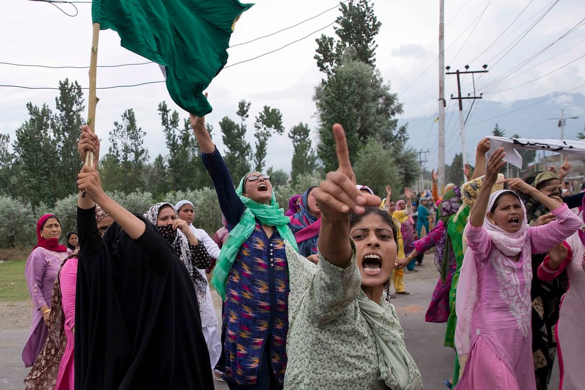 Women protesting against the abrogation of Article 370 in Srinagar's Soura area, on 9 August.