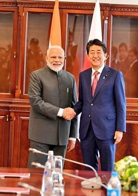 Vladivostok: Prime Minister Narendra Modi meets Japanese Prime Minister Shinzo Abe on the margins of the 5th Eastern Economic Forum in Vladivostok, Russia on Sep 5, 2019. (Photo: IANS/MEA)