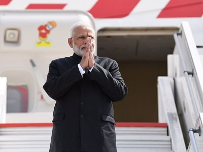 Biarritz: Prime Minister Narendra Modi emplanes for New Delhi after concluding his 3-nation visit to France, UAE and Bahrain comprising of bilateral and multilateral engagements, from Biarritz, France on Aug 26, 2019. (Photo: IANS/MEA)