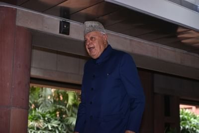 New Delhi: National Conference leader Farooq Abdullah departs after the all party meeting on the Pulwama terror attack at Parliament House, in New Delhi, on Feb. 16, 2019. (Photo: IANS)