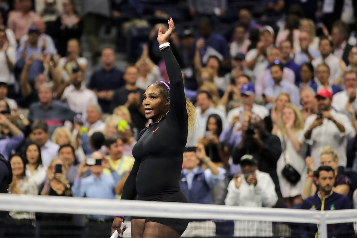 Serena Williams, of the United States, reacts after defeating Elina Svitolina, of Ukraine, during the semifinals of the U.S. Open tennis championships Thursday, Sept. 5, 2019, in New York.
