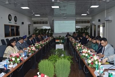 Attari: The third round of talks held for operationalising the Kartarpur Corridor underway at Attari checkpoint in Punjab on Sep 4, 2019. The Indian delegation was led by Joint Secretary, Ministry of Home Affairs and the Pakistani delegation led by Director General (South Asia and SAARC), Ministry of Foreign Affairs. No agreement could be reached on modalities for operationalising the Kartarpur Corridor even in the third round of talks held on Wednesday as India rejected Pakistan