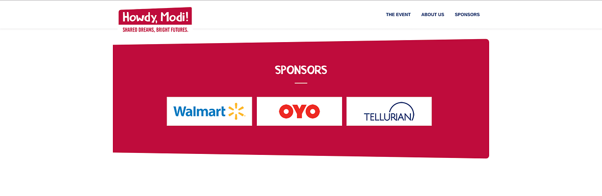 Howdy Modi's official website lists Tellurian as one of its sponsors