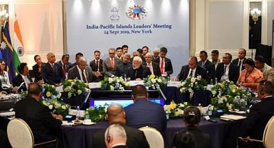 Prime Minister Narendra Modi addresses during India-Pascific Islands Leaders