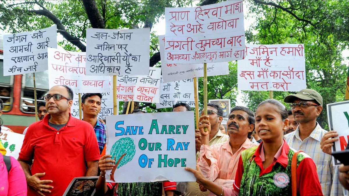 File picture of protesters demonstrating against the decision to cut trees in Aarey colony.