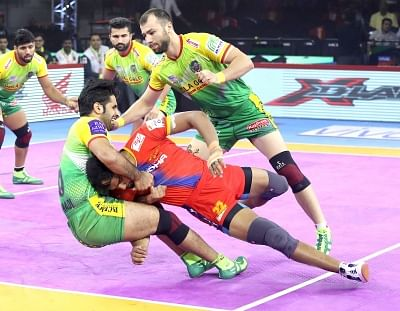 Bengaluru: Players in action during Pro Kabaddi Season 7 match between Patna Pirates and UP Yoddha at Kanteerava Stadium in Bengaluru on Sep 6, 2019. (Photo: IANS)