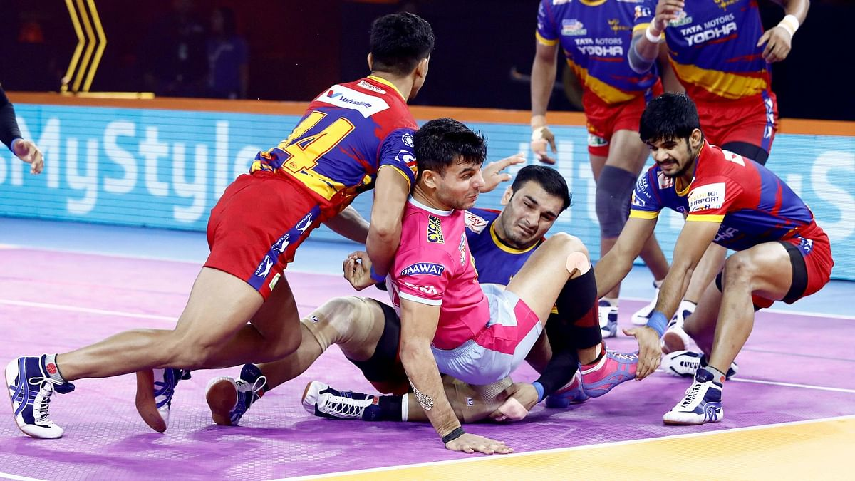 UP Yoddha produced a clinical performance to beat Jaipur Pink Panthers 38-32 in their Pro Kabaddi League match.