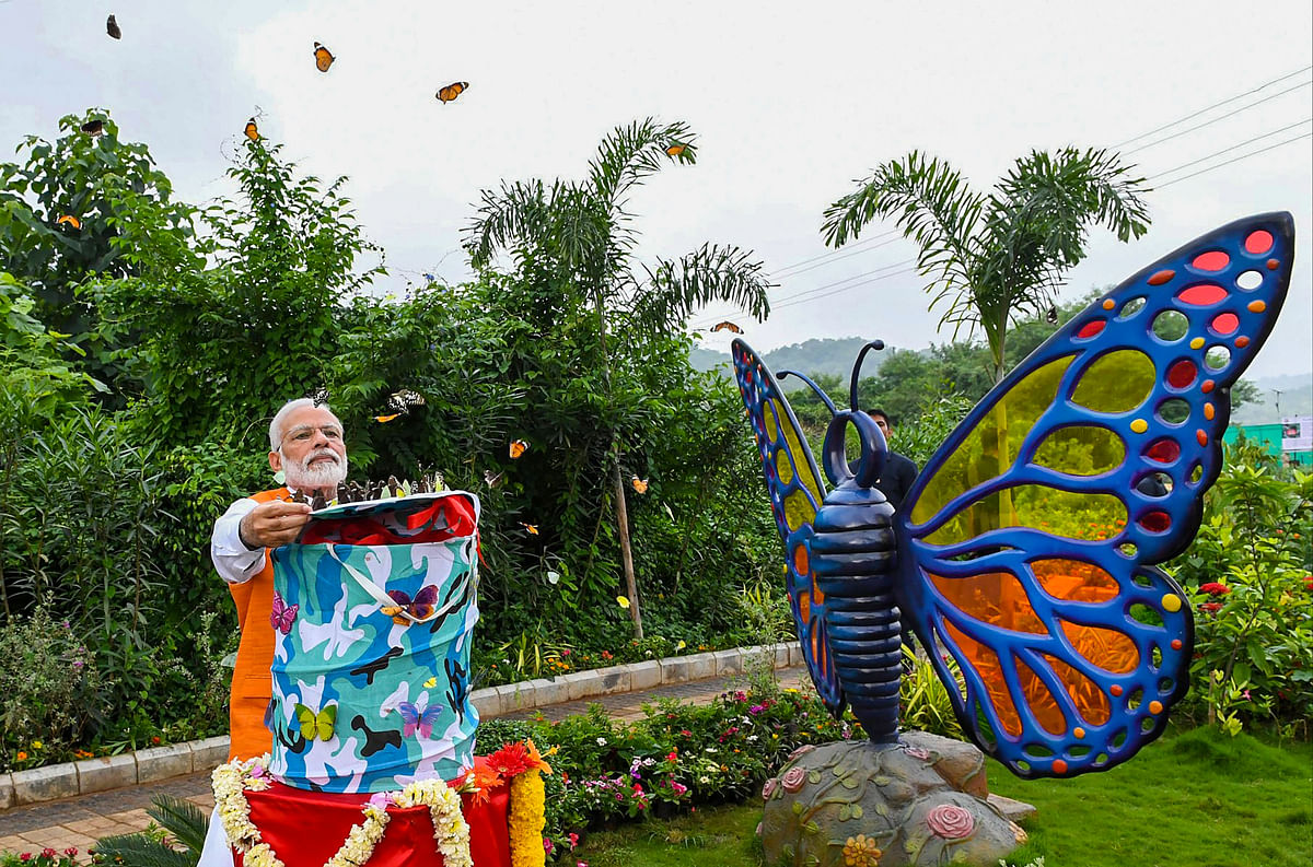 PM Modi releases butterflies as a part of his 69th birthday celebration, at Butterfly Garden in Kevadiya