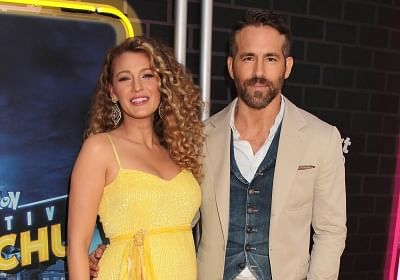 Actor Ryan Reynolds with his wife and actress Blake Lively. (Photo: IANS)