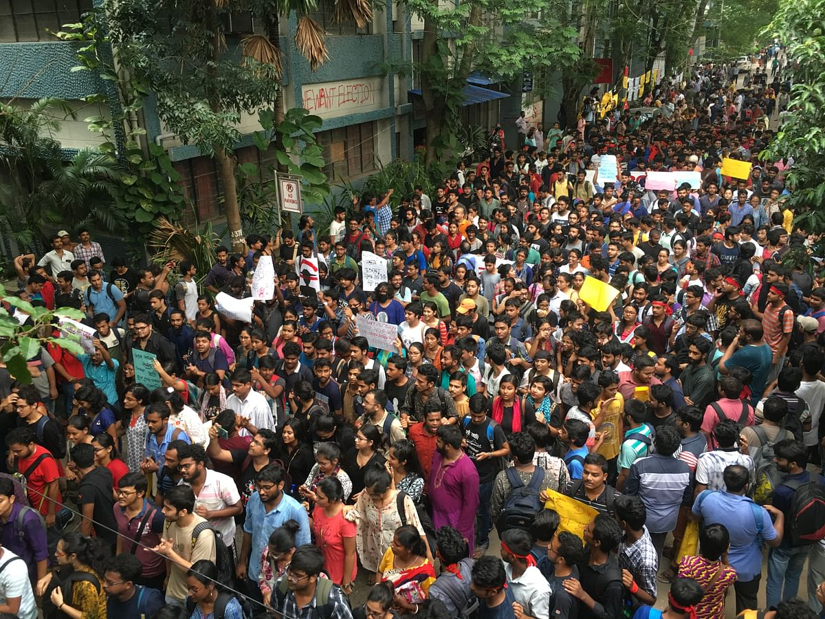 At the starting point of the rally in the Jadavpur University campus, shortly before it began.
