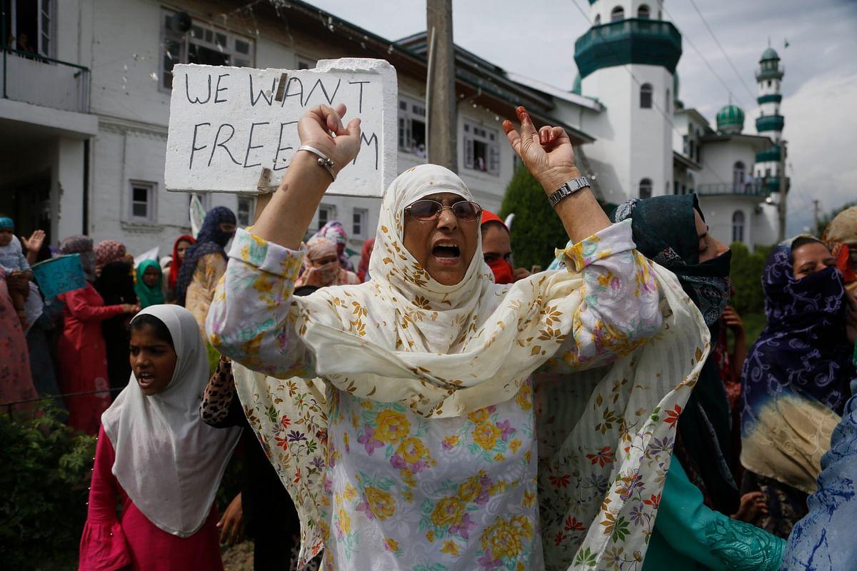 Kashmiri women protest near Soura in Srinagar, on 29 August.