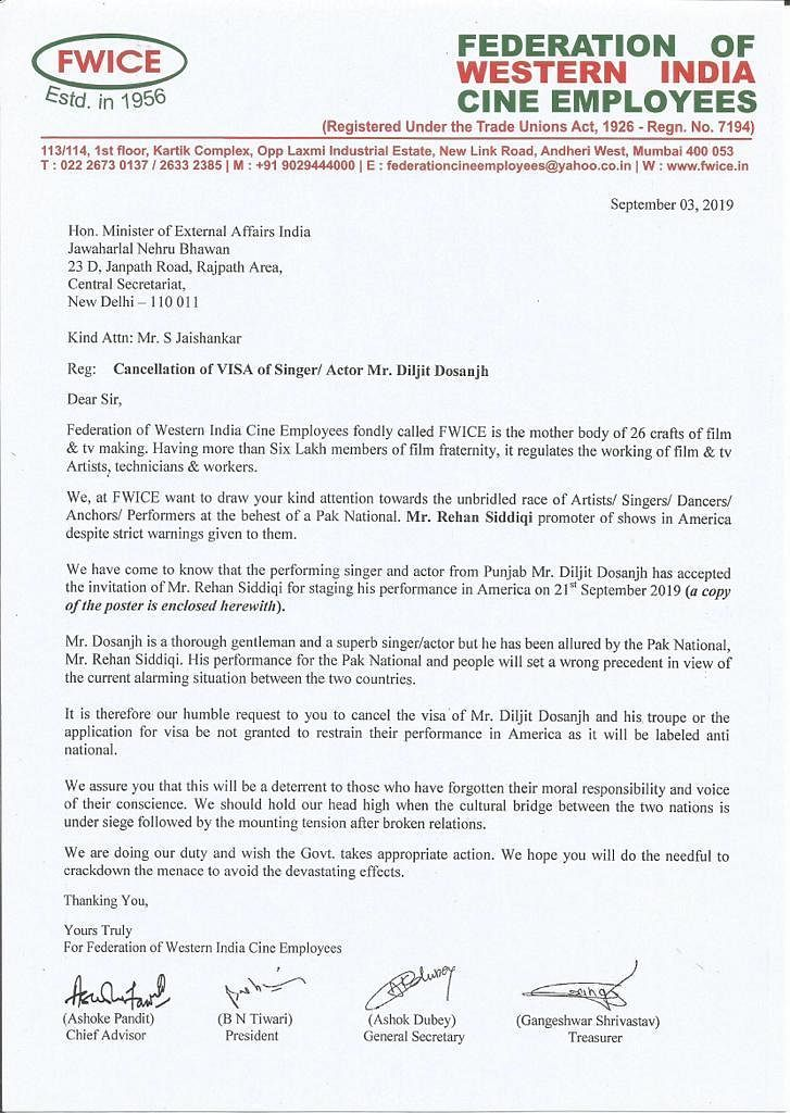 The letter shared by Federation of Western India Cine Employees