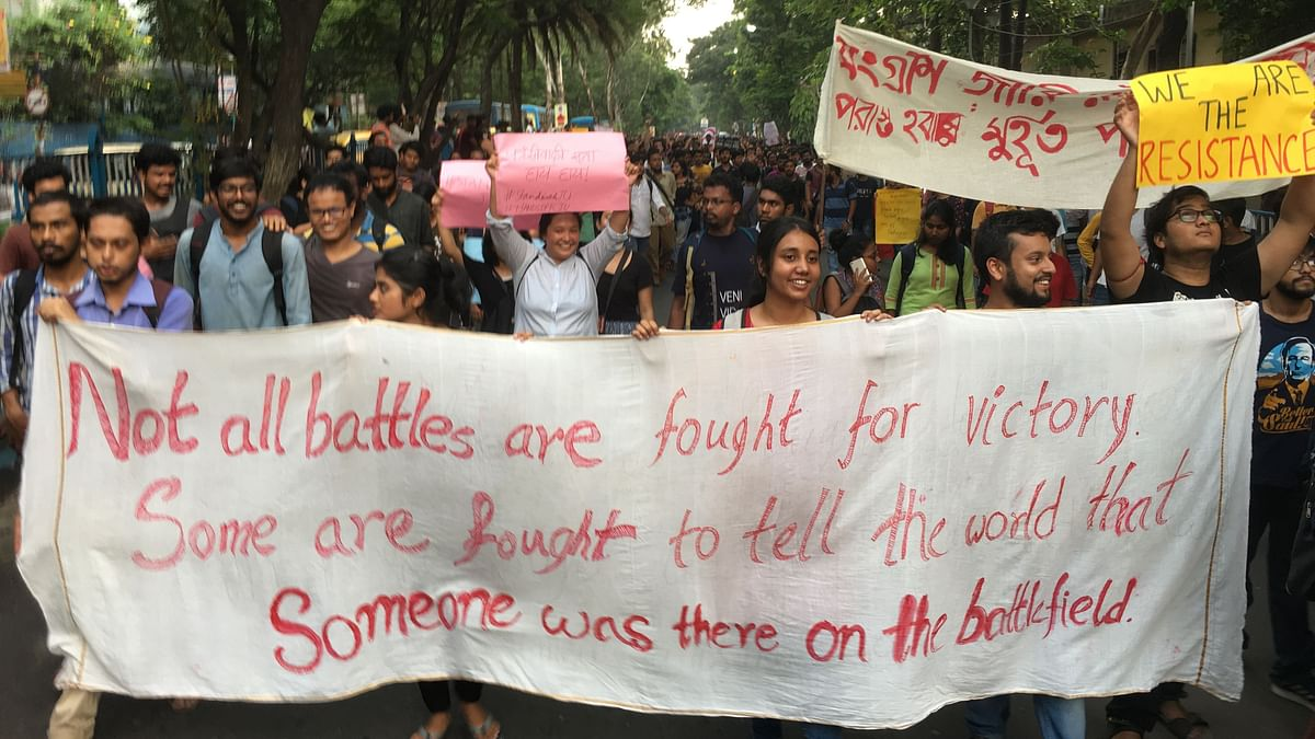 Sights & Sounds of Huge Anti-ABVP Rally by Jadavpur Univ Students