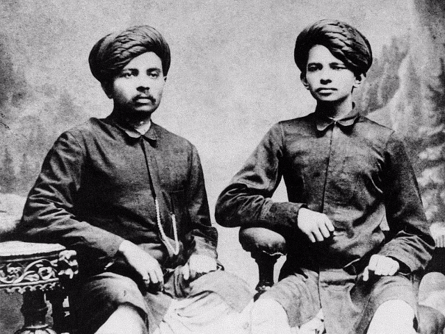 Laxmidas Gandhi (L) and MK Gandhi (R) in 1886.