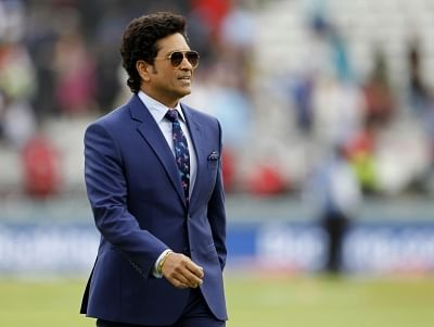 London: Indian legendary cricketer Sachin Tendulkar during the final match of the 2019 World Cup between New Zealand and England at the Lord