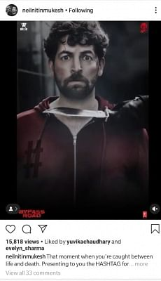 """Actor Neil Nitin Mukesh on Tuesday unveiled the motion poster of his upcoming film """"ByPass Road"""". In the poster, Neil is looking scared as a knife is placed right near his neck."""