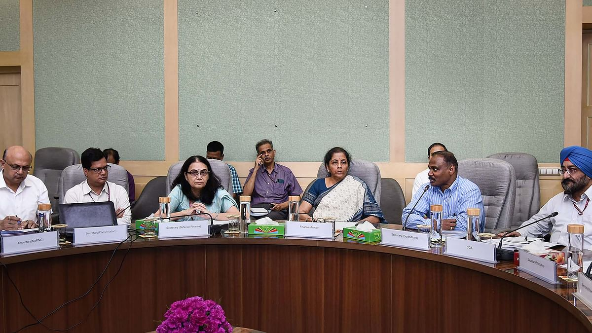 Finance Minister Nirmala Sitharaman chairs a meeting with secretaries and financial advisors of key ministries to review the total CapEx by the ministries in 2019-20.