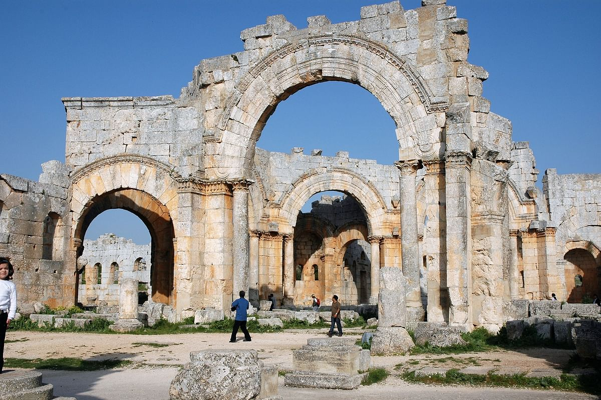 St. Simeon's Citadel near Aleppo. The 3rd century monk spent 42 years of his life here, standing atop various pillars, preaching and giving advice and creating a huge cult following.