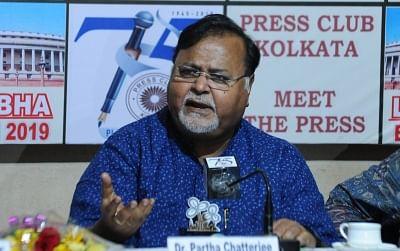 Kolkata: West Bengal Minister and TMC leader Partha Chatterjee addresses during