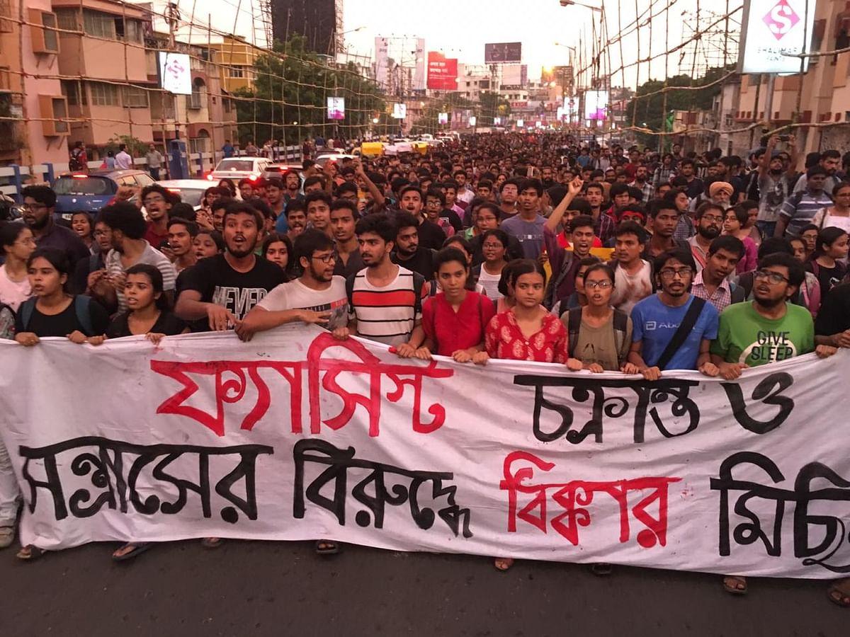 A protest against Union Minister Babul Supriyo at the Jadavpur University campus, in Kolkata.