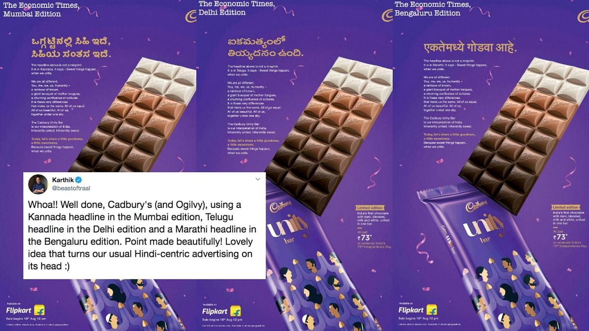 Cadbury released the advertisement in different states using different languages