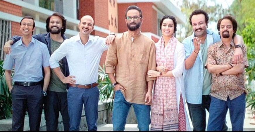 Sushant Singh Rajput, Shraddha Kapoor, Naveen Polishetty, Tahir Raj Bhasin, Varun Sharma in a still from <i>Chhichhore</i>.