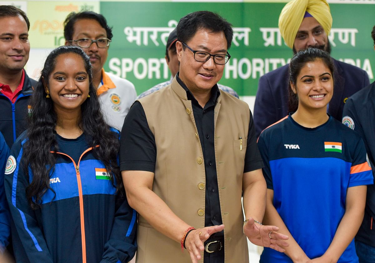 Union Sports Minister Kiren Rijiju meets with members of the Indian shooting team that returned from the ISSF Rifle and Pistol World Cup in Rio De Janeiro, in New Delhi, Friday, Sept. 6, 2019.