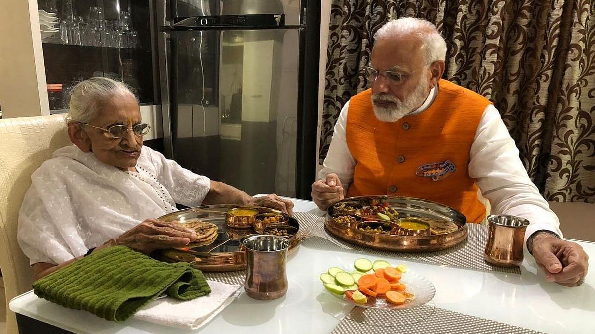 File photo of Heeraben Modi and PM Modi.