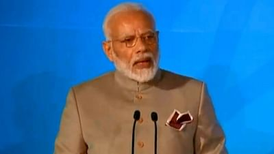 New York: Prime Minister Narendra Modi addresses during the Climate Action Summit 2019 at the 74th session of the UN General Assembly (UNGA 74) at United Nations on Sep 23, 2019. (Photo: IANS)