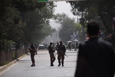 KABUL, Sept. 5, 2019 (Xinhua) -- Members of Afghan security forces stand guard at the site of a car bomb attack in Kabul, capital of Afghanistan, Sept. 5, 2019. At least 10 people, all civilians, have been confirmed dead and 42 others injured as a car bomb rocked Shash Darak area in the Police District 9 of Kabul city on Thursday, Afghan Interior Ministry spokesman Nasrat Rahimi said. (Photo by Rahmatullah Alizadah/Xinhua/IANS)